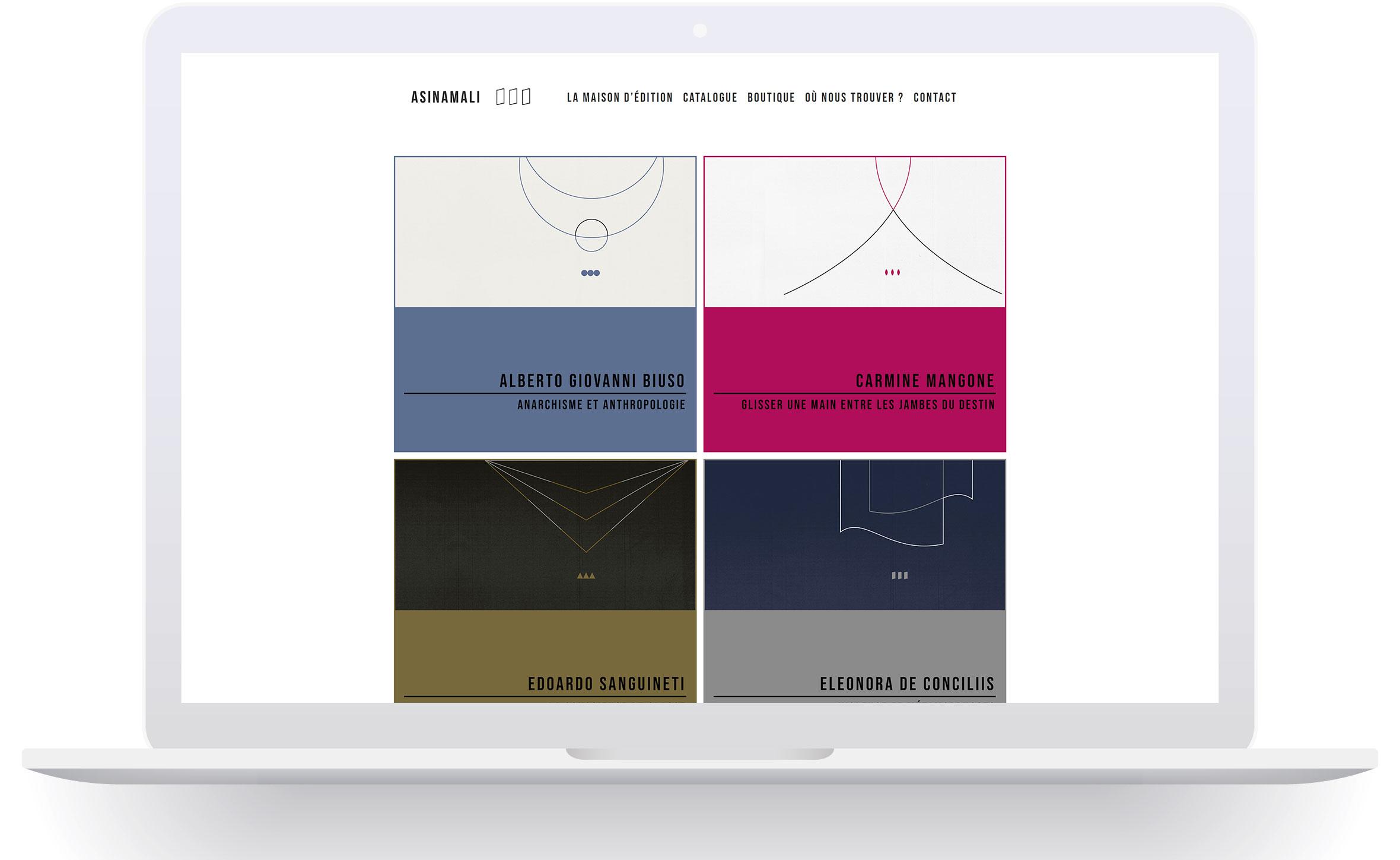 Asinamali è una piccola casa editrice. Il sito web è progettato per assolverne la maggior parte delle funzionalità. Il sito è diviso in catalogo, negozio e pagine per le recensioni dei libri pubblicati.